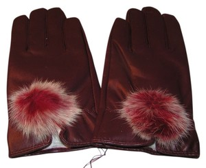 Unknown Real Rabbit Fur Dress Gloves Lined Free Shipping WINE