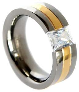 Gold Unisex IP Titanium Band Brilliant Cubic Zirconia Centerpiece 6mm (Sizes 5-8)-8mm (Sizes 9-14) Plus Half Sizes Free Shipping