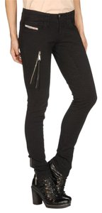Diesel Cotton Cow Leather Skinny Jeans