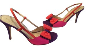 Kate Spade With Slinbacks Made Italy $10 OFF Multi color (purple, pink, orange) fabric leather large bow Italian Sandals