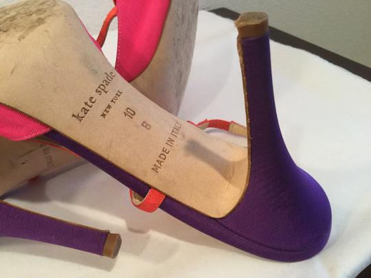 Kate Spade With Slinbacks Made Italy PRICE REDUCTION Multi color (purple, pink, orange) fabric leather large bow Italian Sandals