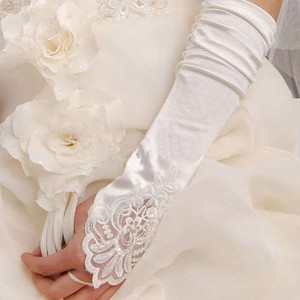 Long White Satin & Lace Wedding Gloves Free Shipping