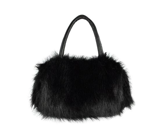 Black Bogo Free Faux Fur Free Shipping Bridal Handbag