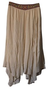 Flying Tomato Embroidered Band Flowy Crepe Neutral Maxi Skirt Off White