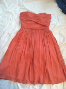 J.Crew Bright Coral Silk Chiffon Arrabelle - Tall Destination Bridesmaid/Mob Dress Size 2 (XS)