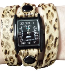 La Mer La Mer hand painted leather Leopard Wrap Watch