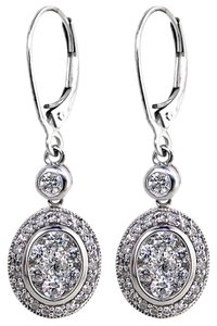 ABC Jewelry 1.15 ct diamond oval dangle earrings 1 1/2inch long. All 14Kt white gold set with genuine round diamonds