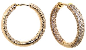 ABC Jewelry 3/4 ct diamond pave hoop earrings. All 14Kt yellow gold hoops set with genuine round pave set diamonds