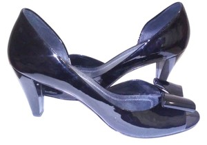 Franco Sarto Patent Leather Peep Toe Black Pumps