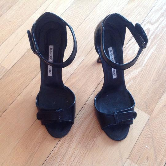 Manolo Blahnik Lovely Wearable Designer Italy Black Sandals