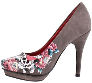 Ed Hardy Platform Grey Pumps