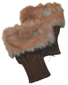 Unknown Faux Fur Fingerless Winter Knit Gloves Free Shipping