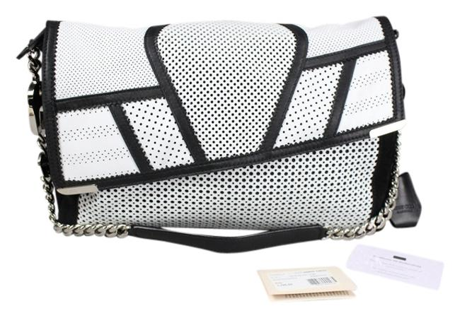 Jimmy Choo Ally Black and Perforated White Leather Shoulder Bag Jimmy Choo Ally Black and Perforated White Leather Shoulder Bag Image 1