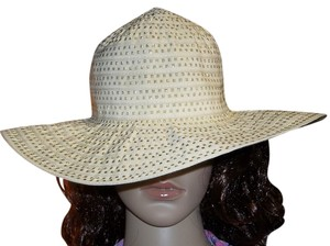 Other Wide Brim Sun Hat, Tan w/Gold Metallic Thread, Size Medium, 21 7/8 Inch
