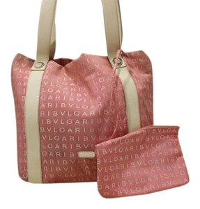 BVLGARI Silver Hardware Studded Tote in Pink/Ivory