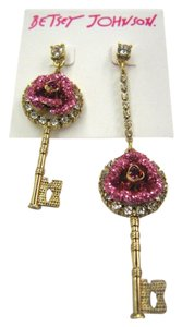 Betsey Johnson BETSEY JONSON KEY with Pink rose CZ posted earrings with rhinestones. Asymmetrical.