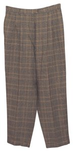 Talbots Plaid Cuffed Trouser Pants Brown Plaid
