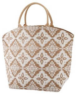 Two's Company Shopping Tote in Natural and White