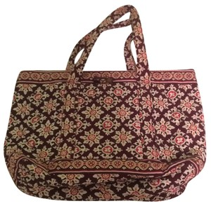 Vera Bradley Tote in Maroon, Gold, Orange, Cream