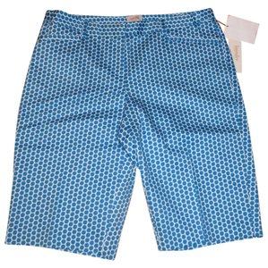 Laundry by Shelli Segal Bermuda Shorts Turquoise Blue and White
