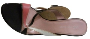 AK Anne Klein Multi Color Black/pink/white and clear pastic Sandals