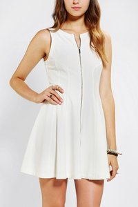 Sparkle & Fade White Zippers Dress