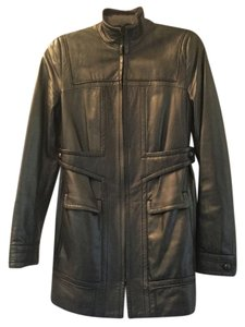Elie Tahari Leather Lambskin Elegant Grafite Leather Jacket