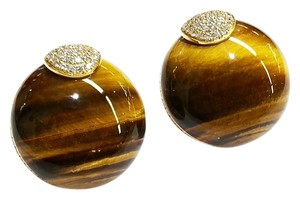 Roberto Coin Roberto Coin Ladies Tigers Eye Earrings With Diamonds