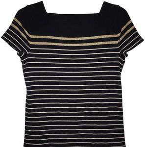 Chaps Striped T Shirt Navy with gold and white stripes