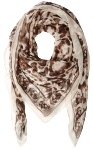 Alexander McQueen Alexander Mcqueen Brown Leopard And Skull Print Scarf New With Tags