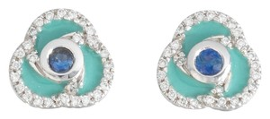 Roberto Coin Roberto Coin Ladies Earrings with Sapphires, Diamonds and Turquoise Enamel 1/2 in