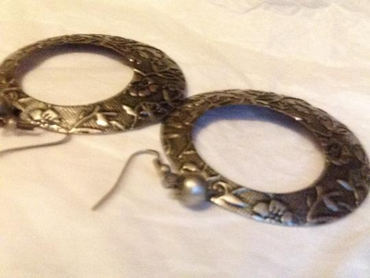 Other Pewter and black colored etched fashion pierced earrings