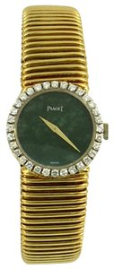Piaget Piaget Lady's Yellow Gold Diamond Bezel Jade Dial Wristwatch