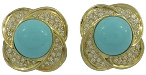 Gold Turquoise and Diamond Clip Earrings
