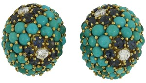 Other Cabochon Turquoise Sapphire Diamond Gold Clip-On Earrings