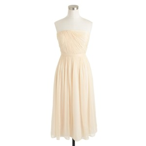 J.Crew Champagne Silk Chiffon Mindy Feminine Bridesmaid/Mob Dress Size 12 (L)