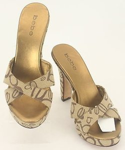 bebe Brown Gold Womens Heels B155 Tan Platforms