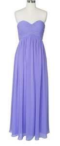 Purple Chiffon Strapless Sweetheart Long Formal Bridesmaid/Mob Dress Size 8 (M)