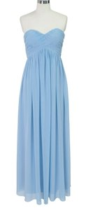 Blue Chiffon Strapless Sweetheart Long Formal Bridesmaid/Mob Dress Size 4 (S)