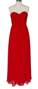 Red Strapless Sweetheart Long Chiffon Dress