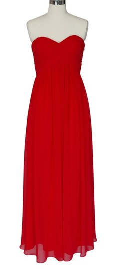 Red Chiffon Strapless Sweetheart Long Formal Dress Size 6 (S)