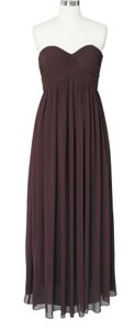 Brown Chiffon Strapless Sweetheart Long Formal Bridesmaid/Mob Dress Size 4 (S)