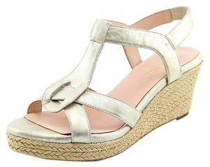 Taryn Rose Krissy Natural Linen Designer Gold Wedges