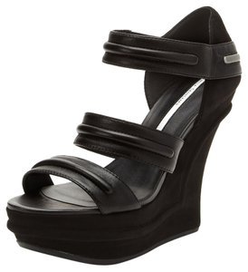 Camilla Skovgaard Sandal Wedge Leather Strappy Black Platforms