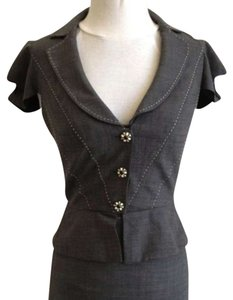 Rebecca Taylor Origami Suit Short Sleeve Jacket Buttons Wool Grey Blazer