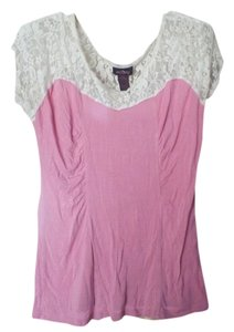 Anxiety Large Lace Floral T Shirt Pink and White