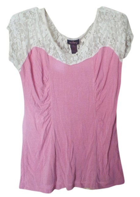 Item - Pink and White Large Lace Floral Tee Shirt Size 14 (L)