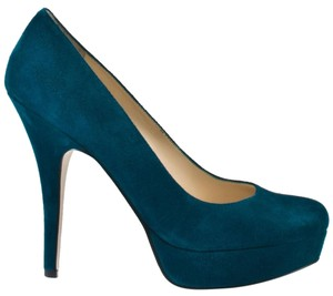 Enzo Angiolini Leather Heel Round Toe Pump Dark Turquoise Platforms