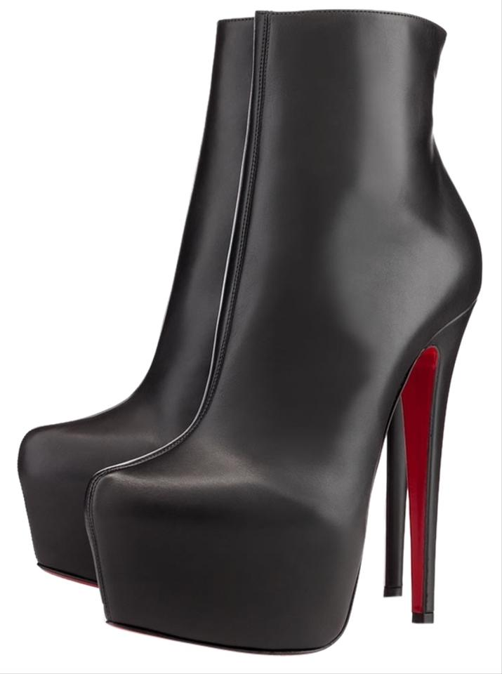 e0d73e08648 Christian Louboutin Black Leather Daf Platform Ankle Boots Booties ...