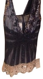 Mandalay Sequin Top Black with Gold